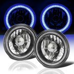 1967 Ford Mustang Blue SMD LED Black Chrome Sealed Beam Headlight Conversion