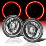 2002 Hummer H1 Red SMD LED Black Chrome Sealed Beam Headlight Conversion