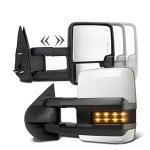 Chevy Silverado 3500HD 2007-2014 White Towing Mirrors Smoked LED Signal Lights Power Heated