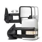 Chevy Silverado 3500HD 2007-2014 White Towing Mirrors Clear LED Signal Lights Power Heated