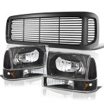 2002 Ford F250 Super Duty Black Grille and Headlights Set