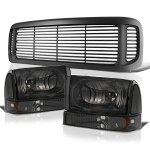 Ford F350 Super Duty 1999-2004 Black Grille and Smoked Headlights Set