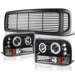 Ford F350 Super Duty 1999-2004 Black Grille and Halo Projector Headlights Conversion