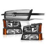 2004 Chevy Silverado 1500HD Black Gray Grille and Headlights Set