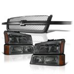 2004 Chevy Silverado 3500 Black Gray Grille and Smoked Headlights Set