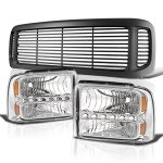 Ford Excursion 2000-2004 Black Grille and Clear LED DRL Headlights