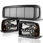 Ford F350 Super Duty 1999-2004 Black Grille and LED DRL Headlights