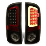 Dodge Ram 2007-2008 Black Smoked LED Tail Lights Red Tube