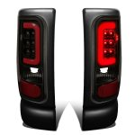 1997 Dodge Ram Black Smoked LED Tail Lights Red Tube