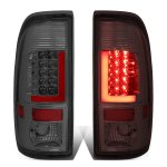 2008 Ford F350 Super Duty Smoked Custom LED Tail Lights Red Tube
