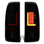 2002 Ford F250 Super Duty Black Smoked LED Tail Lights Red Tube