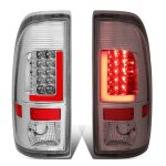 2002 Ford F250 Super Duty Chrome LED Tail Lights Red Tube