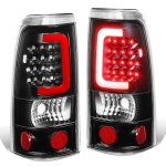 Chevy Silverado 1999-2002 Black LED Tail Lights Red Tube