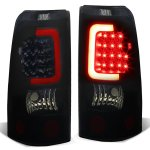 Chevy Silverado 1999-2002 Black Smoked LED Tail Lights Red Tube