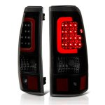 2003 Chevy Silverado Black Smoked LED Tail Lights Red Tube