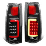 Chevy Suburban 1992-1999 Black LED Tail Lights Red Tube