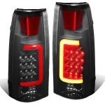 Chevy Suburban 1992-1999 Black Smoked LED Tail Lights Red Tube