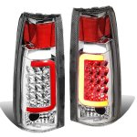 Chevy Suburban 1992-1999 Chrome LED Tail Lights Red Tube
