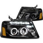 2004 Ford F150 Black Halo Projector Headlights LED