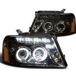 2007 Ford F150 Smoked Halo Projector Headlights LED