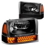 2002 Ford F250 Super Duty Black Headlights LED Bumper Lights