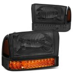 2002 Ford F350 Super Duty Smoked Headlights LED Bumper Lights
