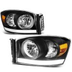 2008 Dodge Ram Black LED DRL Headlights