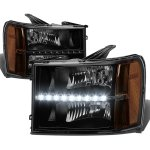 GMC Sierra 2007-2013 Black Headlights LED DRL