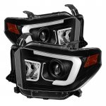 2014 Toyota Tundra Black LED DRL Projector Headlights