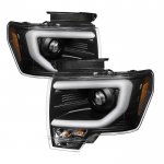 2013 Ford F150 Black LED DRL HID Projector Headlights