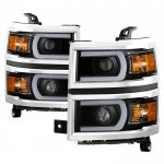 Chevy Silverado 1500 2014-2015 Black LED DRL Tube Projector Headlights