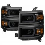 Chevy Silverado 1500 2014-2015 Black Smoked LED DRL Tube Projector Headlights