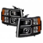 Chevy Silverado 2500HD 2007-2014 Black LED DRL Projector Headlights