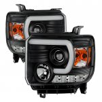 2015 GMC Sierra Black LED DRL Projector Headlights