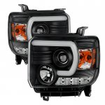 GMC Sierra 1500 2014-2015 Black LED Signature DRL Projector Headlights