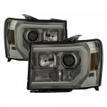 2009 GMC Sierra Smoked LED DRL Projector Headlights