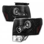 2011 Ford F150 Black LED DRL Halo Projector Headlights