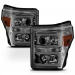 2012 Ford F250 Super Duty Smoked LED DRL Projector Headlights