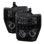 2009 Ford F550 Super Duty Black Smoked CCFL Halo Projector Headlights LED