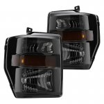 2009 Ford F550 Super Duty Black Smoked Headlights