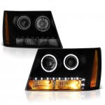 2012 Chevy Avalanche Black Smoked Halo Projector Headlights LED