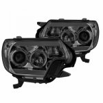 Toyota Tacoma 2012-2015 Smoked Projector Headlights LED DRL