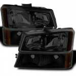 Chevy Silverado 2500HD 2003-2006 Black Smoked Headlights Bumper Lights