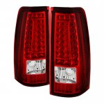 2003 Chevy Silverado Red Clear Custom LED Tail Lights