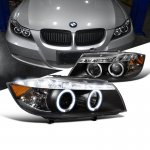 BMW 3 Series Sedan 2006-2008 Halo Black Halogen Projector Headlights LED