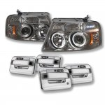 2004 Ford F150 Smoked Euro Headlights Chrome Door Handle Cover