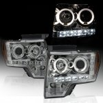 2009 Ford F150 Smoked Dual Halo Projector Headlights with LED