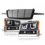 2004 Chevy Silverado 3500 Black Grille LED DRL Headlights Tube Bumper Lights