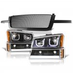 2003 Chevy Silverado 2500 Black Mesh Grille LED DRL Headlights Tube Bumper Lights