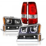 Chevy Silverado 2003-2006 Black LED DRL Headlights Set LED Tail Lights Red Tube